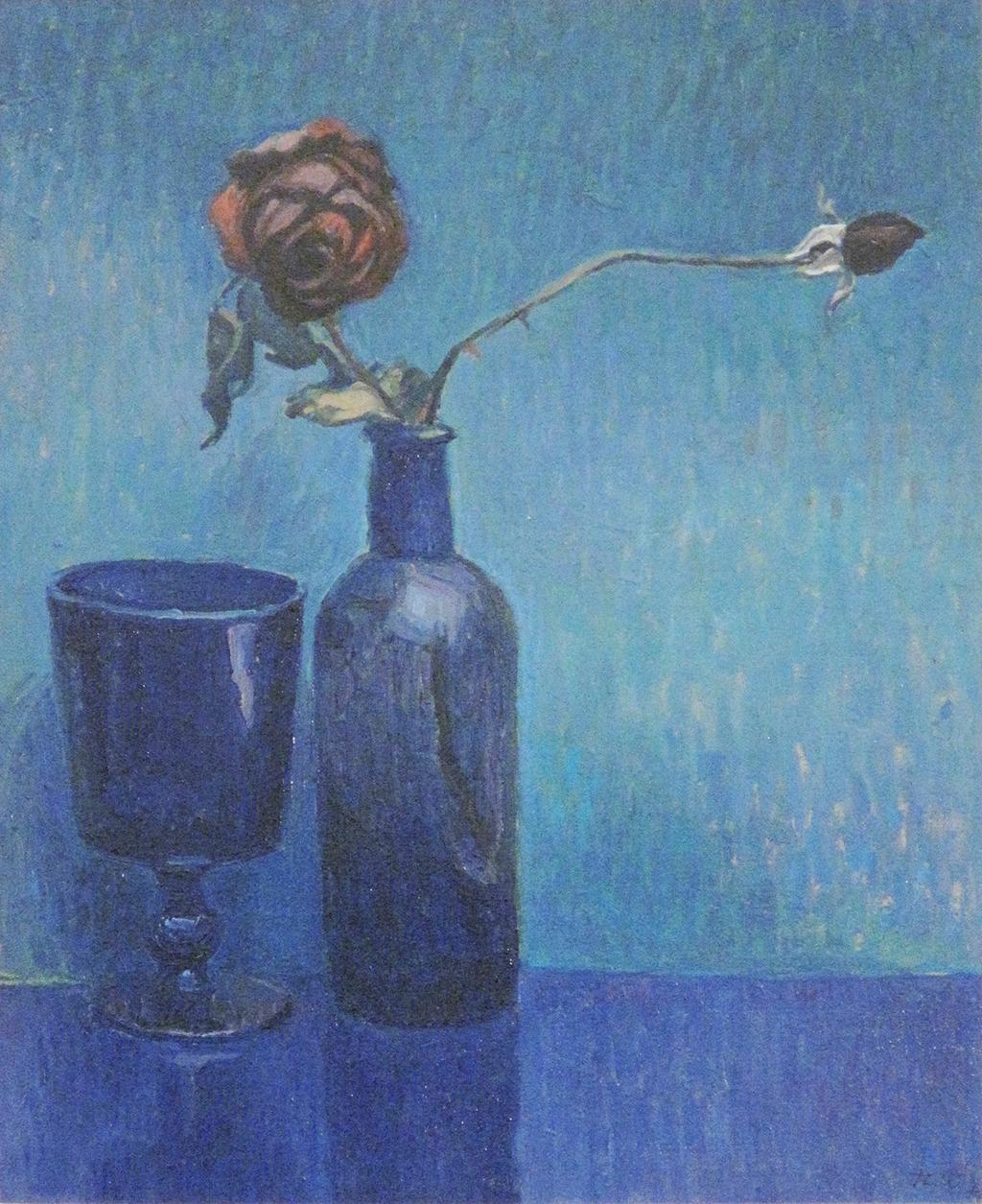 Blaues Stillleben mit Rosen